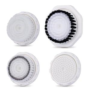 Têtes de brosse visage et corps, accessoires de remplacement professionnels pour brosse faciale à vibrations soniques TEC.BEAN et MiroPure, 4 pièces