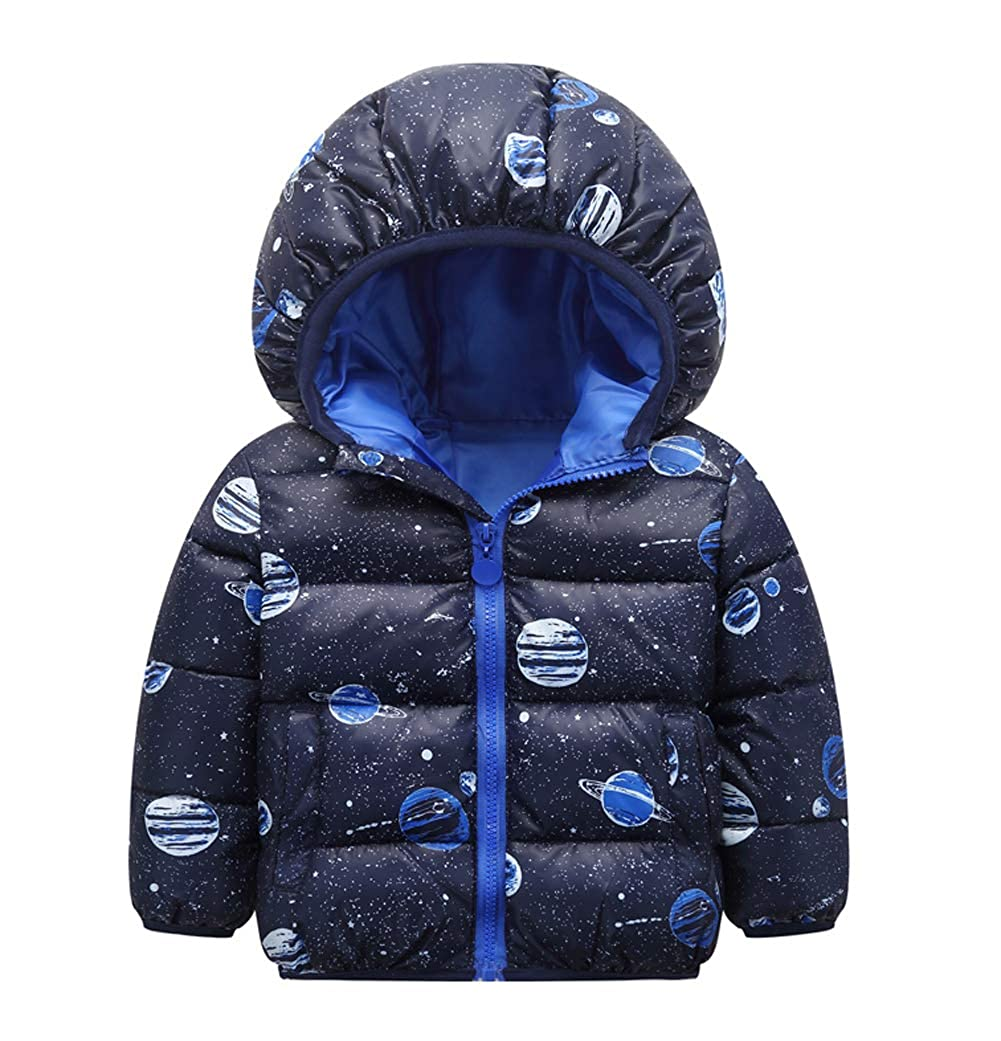 Happy Cherry Toddler Winter Puffer Jacket Cute Cartoon Hooded Coat Thick Thermal Outerwear 1-6 Years