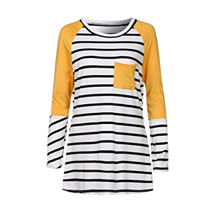 Mujer camiseta fiesta Otoño,Sonnena ❤ Camisa estampada rayas mujer con bolsillo Camisa de