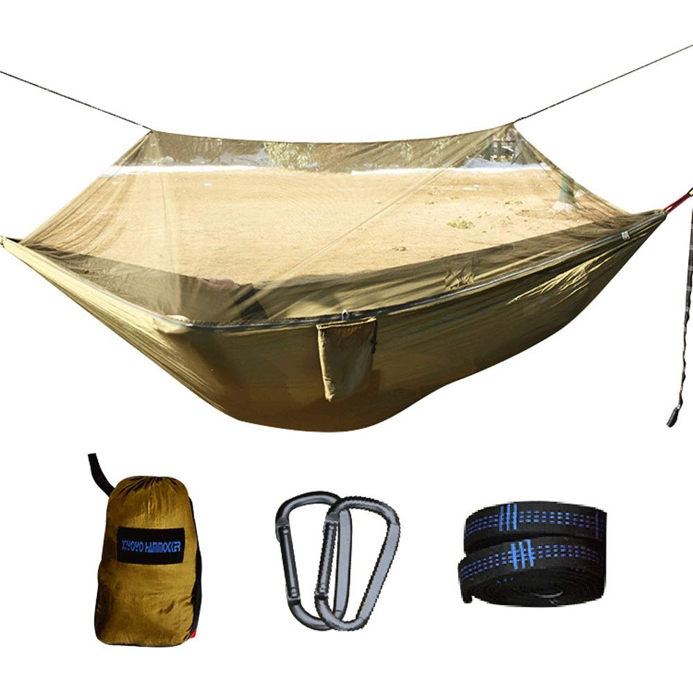 Hammock with Mosquito Net and Cover, Tent with Mosquito Net for Hiking Travel, Camping Hammock with Mosquito Net, 260140cm Military Green (with Straps) by SXHHH