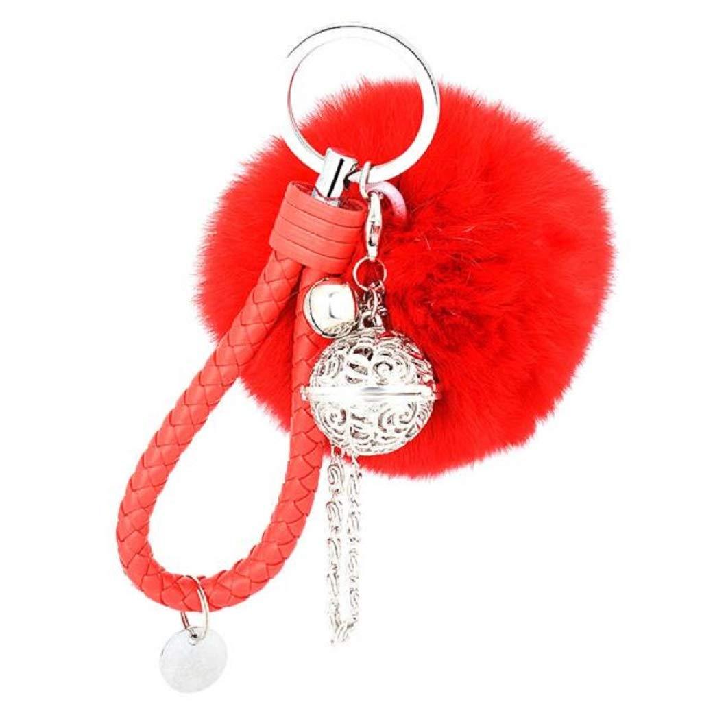 Tantisy ♣↭♣ Plush Ball Palace Keychain ☘ Rhinestone Sweet Heart Pendant Sparkling Charm Handbag Car Keychain Red