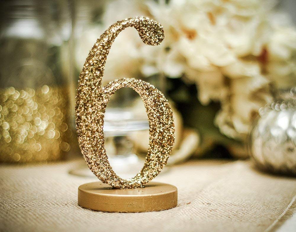Glitter Wedding Table Numbers, Freestanding Table Numbers for Weddings Party or Events, Table Decor for Wedding