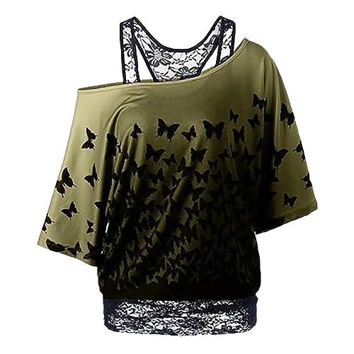NiSeng Mujer Loose Blusas Sin Tirantes Camisetas Moda Impresión De La Mariposa Manga Bat Falsificaci...