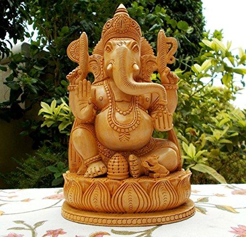 Hand Carved Wood Statue (CraftVatika Wooden Ganesh Statue - Hand Carved Sitting on Mouse- Lord Ganesha Wood Sculpture Elephant Hindu Deity God Figurine)
