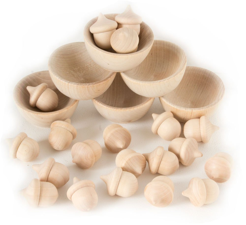 Wooden Acorns Counting & Sorting Kit - Unfinished Wood Set of 20 Acorns and 6 Bowls by Chica and Jo