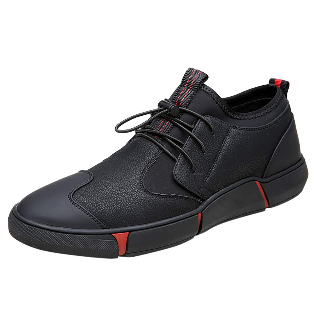 Men Casual Lace-up Sport Shoes Non-Slip Bottom Breathable Sneakers Shoes (Black, US:9)