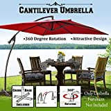 Cheap 8'x8′ Cantilever Banana Umbrella Patio Offset Parasol Garden Outdoor Sunshade Hanging Market—360'C Rotational Function (Burgundy)
