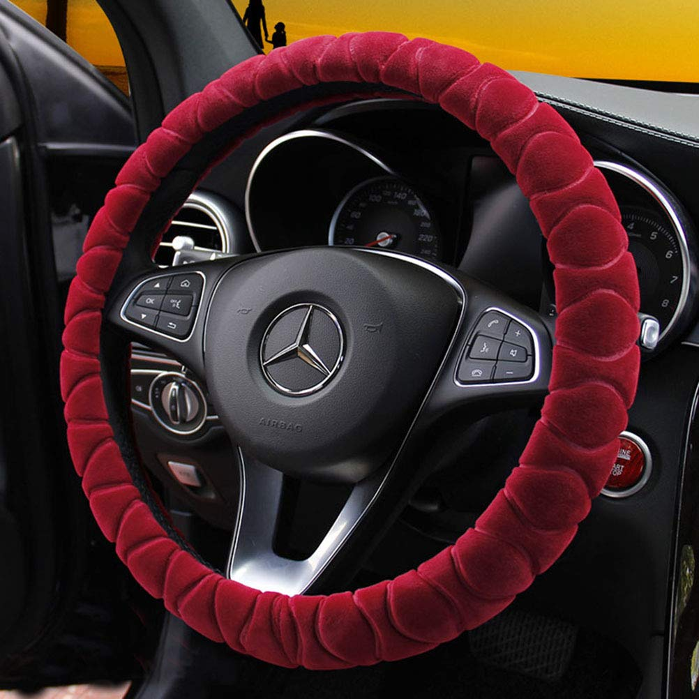 Mayco Bell Steering Wheel Cover Faux Fur Winter Warm Steering Wheel Wrap Fits Most Car 37cm 38cm Size Interior Accessories Purple