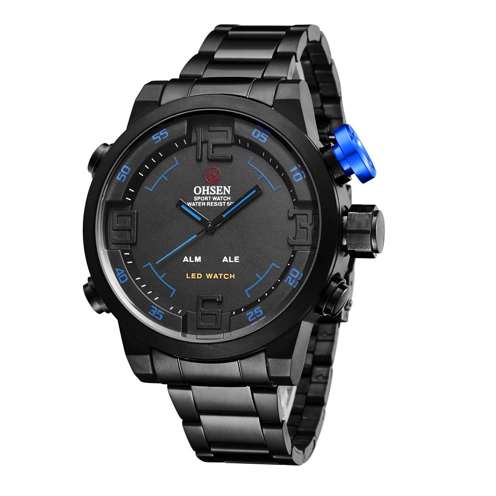 Amazon.com: ShoppeWatch Mens LED Watch Black Bracelet Band Dual Time Date Day Sport Reloj de Hombres OH-252: Watches