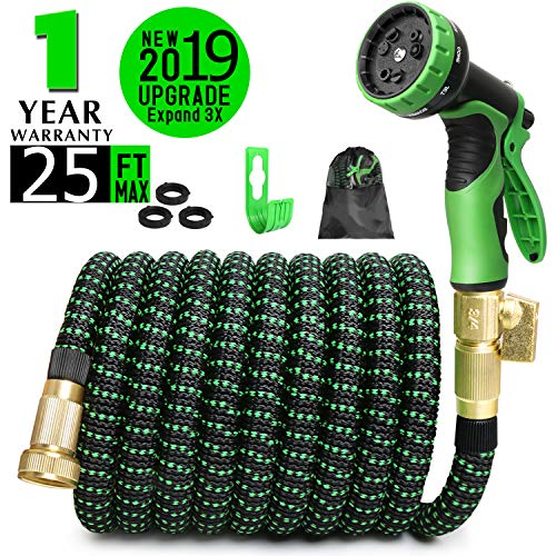 COLAM 25FT Black Green Garden Hose, All New 2019 Expandable Hose with 3/4″ Solid Brass Fittings, Extra Strength Fabric – Flexible Expanding Water Hose with 9 Function Green Spray Pattern Nozzle