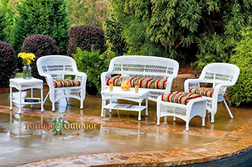 tortuga portside 6 piece wicker outdoor seating set white wicker eastbay pompeii fabric - Garden Furniture East Bay
