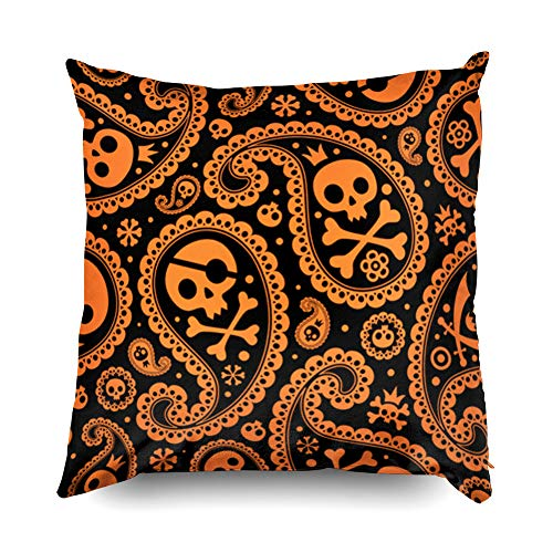 (Halloween 18x18 Pillow Cases,Standard Pillow Case,TOMWISH Zippered Decorative Throw Cotton Pillow Case Cushion Cover for Home Decor skull halloween pattern paisley seamless vector background)
