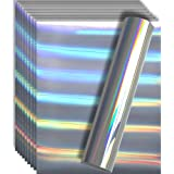 "Holographic Rainbow Silver Metallic Foil HTV Heat Transfer Vinyl for Tshirt and Apparel 12"" X 10""(Pack of 10), Easy to Weed and Iron on, Guaranteed Size"