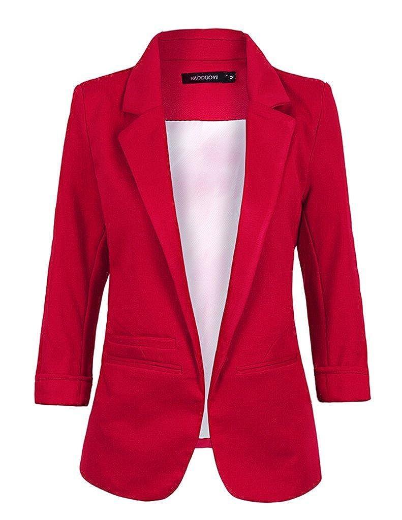 Wenxuan Women's Boyfriend Blazer Tailored Suit Coat Jacket at ...