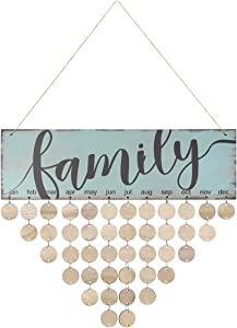 WINOMO Family Birthday Board Plaque DIY Hanging Wooden Birthday Reminder Calendar