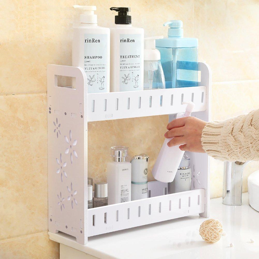 2-Tier Desktop Shelf,Wood Plastic Storage Organizer,for Bathroom Organizer,Makeup Storage,Kitchen Shelf,Office Bookcase,White Exblue