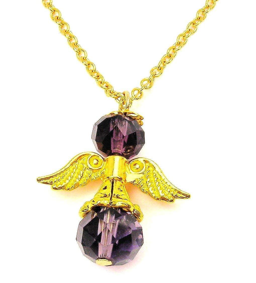 ChubbyChicoCharms Febuary Birthstone Angel Gold Tone Chain 18 Necklace