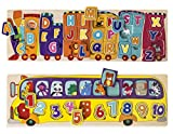 train number puzzle - kidzzy toys Set of 2 Wooden Peg Puzzles, Letter Alphabet Train and Number School Bus with Animals and Colors, Helps Children with Motor Skills, STEAM Learning and Creativity