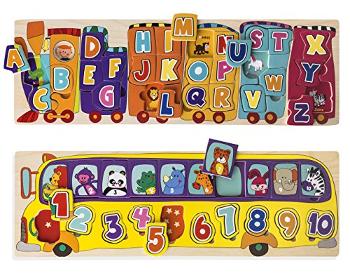 Kidzzy Toys Set of 2 Wooden Peg Puzzles, Letter Alphabet Train and Number School Bus with Animals and Colors, Helps Children with Motor Skills, STEAM Learning and Creativity