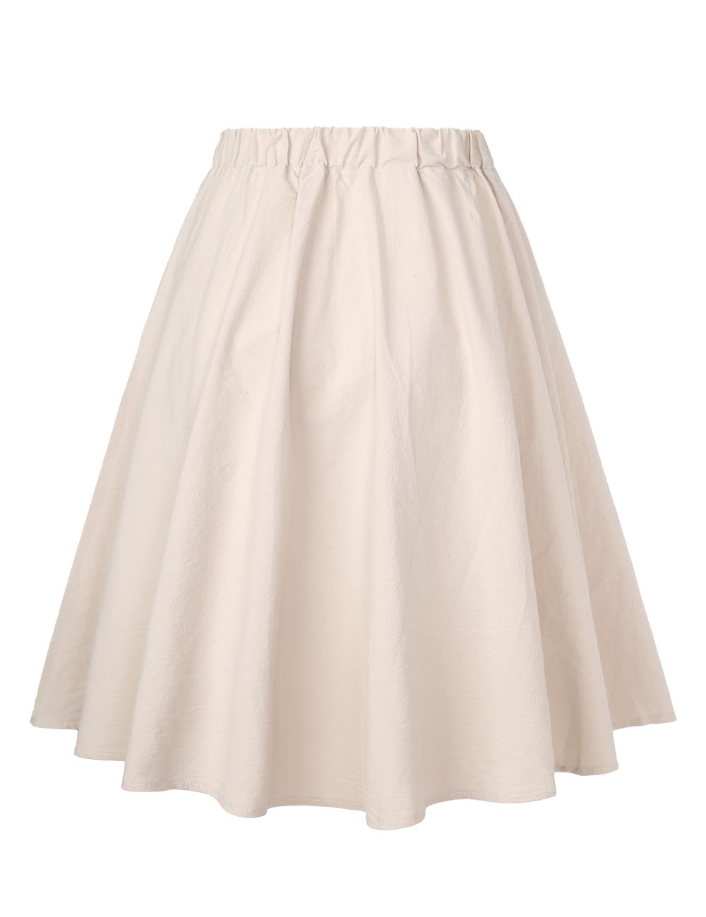 BaiShengGT Casual Skirts for Women, Women's A-Line High Waisted Button Front Pleated Midi Skirt with Elastic Waist Knee Length One Size(fit S-M) Apricot-False Drawstring by BaiShengGT (Image #2)