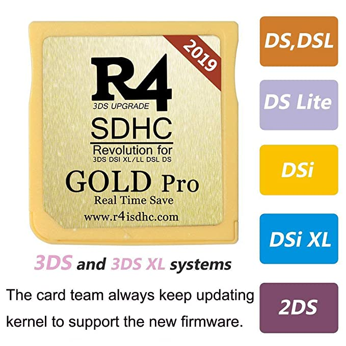 2019 New Gold Pro SDHC with Card Reader for 3DS, 3DSXL, 2DS, NEW2DSXL,  NEW3DS, NEW3DSXL, NDS, NDSL,NDSI,NDSIXL