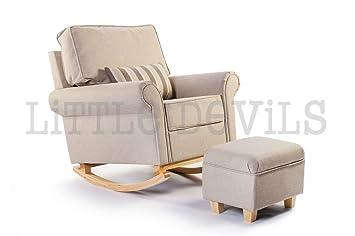The New Cream/Beige Hush Hush Rocking/Nursing/Glider Chair   Converts Into