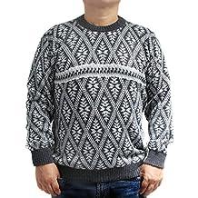 CELITAS DESIGN Sweater baby alpaca and blend Dark Grey jack rombo made in PERU