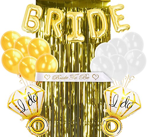 (Coditechture Gold Bachelorette Party Decorations and White Bridal Shower Kit, 5 Gold Bride Balloons, 1 Bride to Be Sash, 1 Gold Foil Fringe Curtain, 2 Ring Balloons, 6 Yellow and 6 White Balloons)