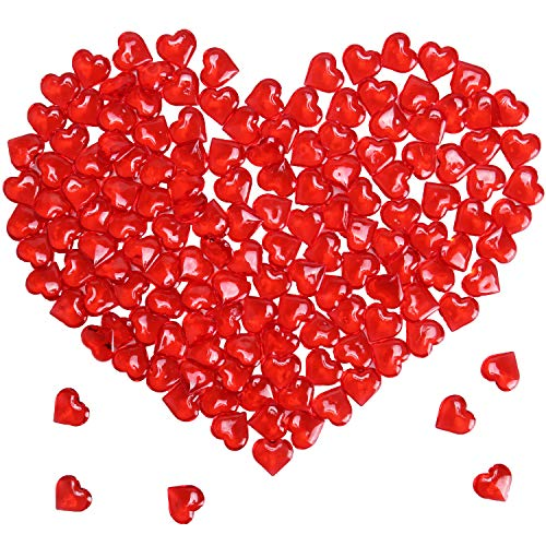 Mayam 150 Pieces Acrylic Hearts for Valentines Day Heart Ornaments Wedding, Party Vase Fillers Table Scatter Decoration (Red)