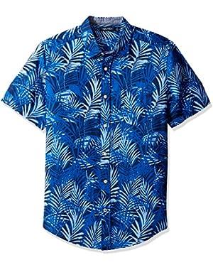 Men's Short Sleeve Print Linen Button Down Shirt