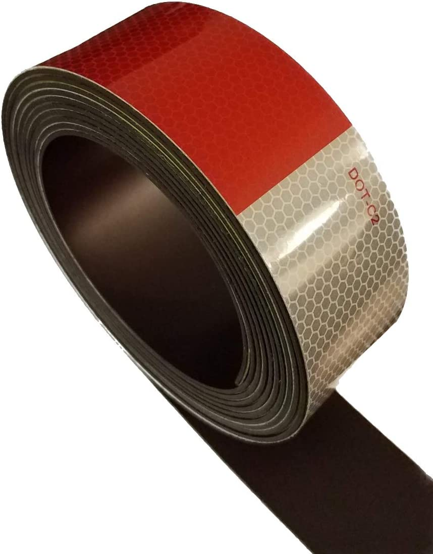 Red//White DOT-C2 Reflective Magnetic Strip 2 Wide 2ft x 2pcs
