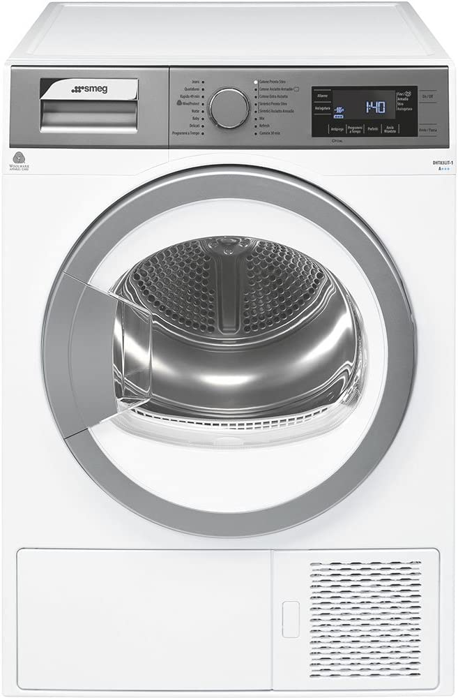 Smeg DHT83LIT-1 Independiente Carga frontal 8kg A+++ Plata, Color blanco - Secadora (Independiente, Carga frontal, Bomba de calor, Plata, Color blanco, Botones, Giratorio, Derecho)