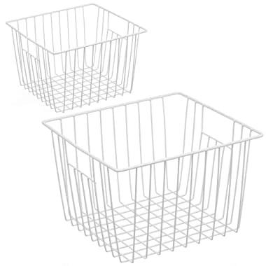 iPEGTOP Deep Refrigerator Freezer Baskets, Large Household Wire Storage Basket Bins Organizer with Handles for Kitchen, Pantry, Freezer, Cabinet, Closets, Pearl White, Set of 2