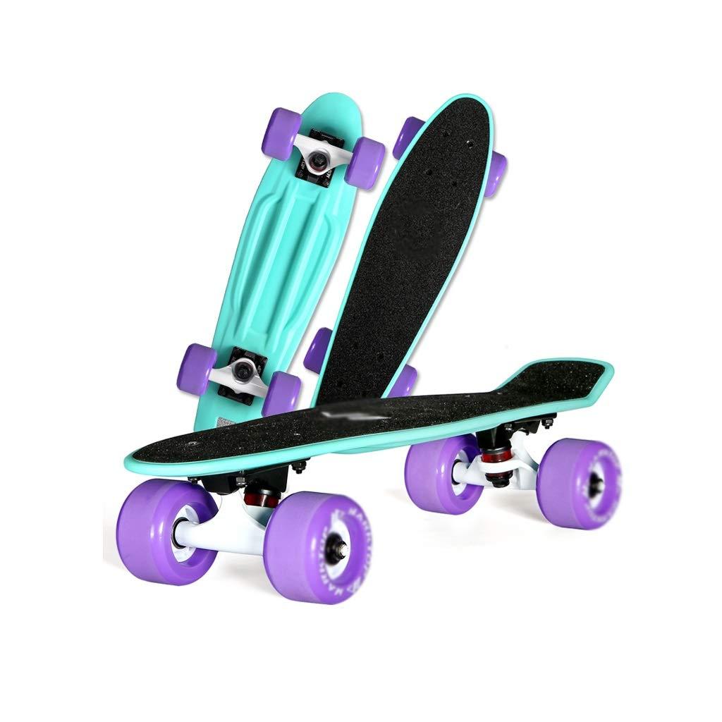 HXGL-スケートボード シングルワープロード初心者子供四輪大人の男の子と女の子スケートボードフィッシュプレートブラシストリートバナナボード 黒