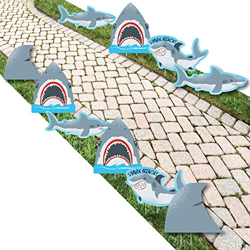 Big Dot of Happiness Shark Zone - Shark and Fin Lawn Decorations - Outdoor Jawsome Shark Viewing Week Party or Birthday Party Yard Decorations - 10 Piece -