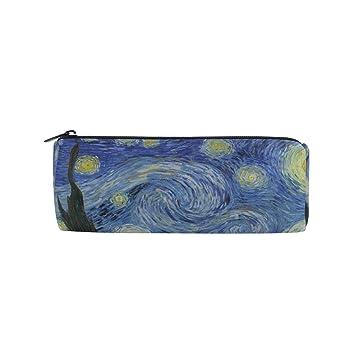 Ahomy Estuches de lona estuche Van Gogh Starry noche luna cremallera bolsa de lápiz para adolescentes niñas y niños, bolsa de viaje de maquillaje para ...