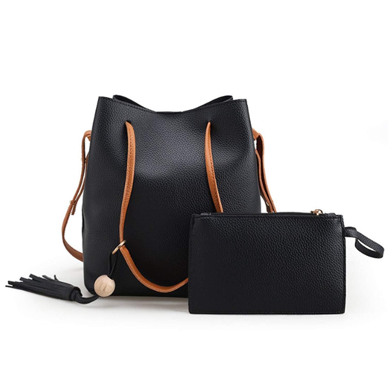 263b53c139dc Ikonic Fashion Vintage Women Shoulder Bags Messenger Bag Casual Two Piece  Set Handbags Ladies Purse Black Tassel Tote Bag(Black)  Amazon.in  Shoes    ...