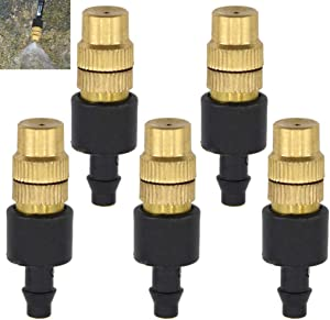 """IronBuddy 5Pcs Brass Spray Nozzle with 1/4"""" Barb Adjustable Misting Dripper Sprinker Spray Nozzle for Garden Lawn Patio Irrigation System"""