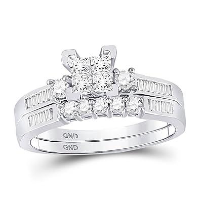 c2d21db3f Amazon.com: 10K White Gold .53ct Diamond Ladies Bridal Wedding Ring ...