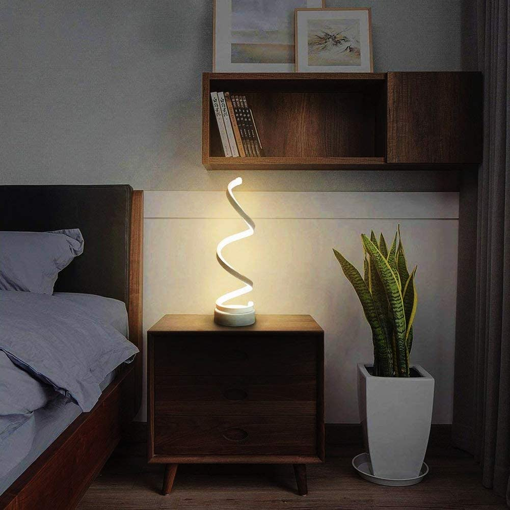 White *EU Plug White Light* kukakoo 2019 Latest Practical Office Bedroom Learning Daily Life 20W Acrylic Spiral Stepless Dimming LED Table Reading Lamp Bedside Light Decor