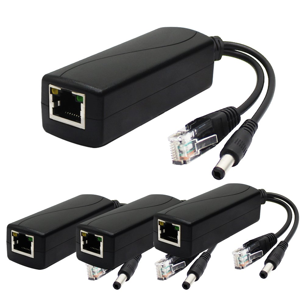 ANVISION 4-Pack Active 12V PoE Splitter Adapter, 5.5mm x 2.5mm Plug, IEEE 802.3af Compliant 10/100Mbps, DC 12V Output for IP Camera Wirelss AP Voip Phone and more by ANVISION