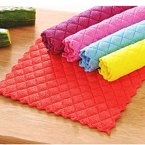NszzJixo9 High Efficient Anti-Grease Color Dish Cloth Bamboo Fiber Washing Towel Magic Kitchen Cleaning Wiping Rags Multipurpose Dish Towels Lint Free Dishcloth