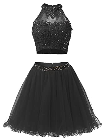 EverLove Short Applique Prom Gowns Beaded Two Pieces Homecoming Dresses EL0044 2 Black