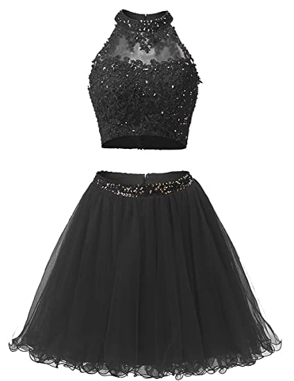 Review EverLove Short Applique Prom Gowns Beaded Two Pieces Homecoming Dresses EL0044