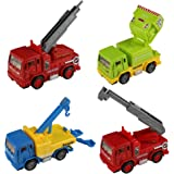 Yoptote Party Favors Construction vehicles Toy Cars Push Pull Back Toy Trucks Playset Toys Die Cast Vehicle Truck for Boys Girls Kids Toddlers with 4 PCS