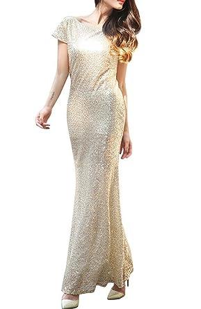 Frauen-hochwertiges Meerjungfrau-langes Kleid, Glanz-Pailletten ...