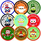 "My First Holiday Belly Milestone Stickers - Baby's First Holiday - Unisex- High Quality 4"" Individual Pre-cut Vinyl Sticker - Set of 14 Owl-themed Shower Gift"