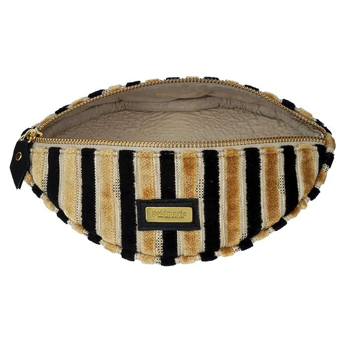 6ed0b30511e51 Goldmarie Kosmetik Clutch Mund Kosmetiktasche Samt Look Make up Tasche  Streifen Partytasche schwarz beige  Amazon.de  Schuhe   Handtaschen