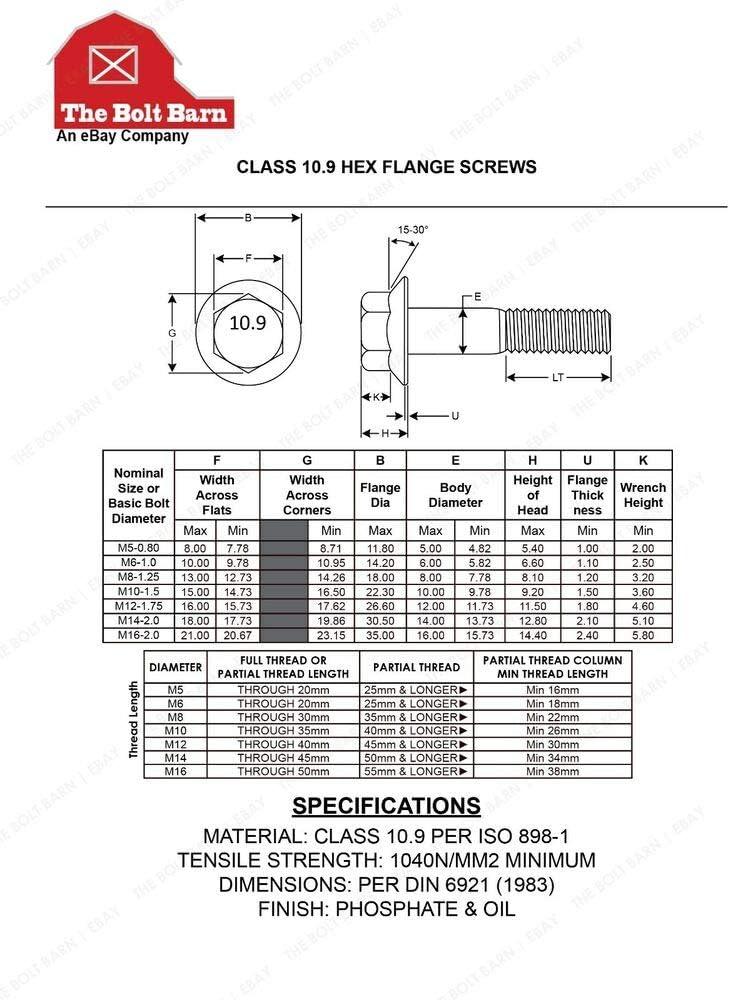 15 Pcs M8-1.25 Flange Lock Nuts - USA Stocks 15 Pcs M8-1.25x45 Class 10.9 DIN Hex Flange Bolts /&