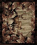 Rug Empire Rustic Lodge, Deer Area Rug, 27″ W x 91″ L, Black For Sale